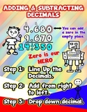 Adding & Subtracting Decimals = Poster/Anchor Chart with Cards for Students