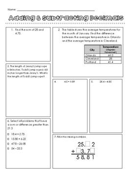 Adding & Subtracting Decimals Practice
