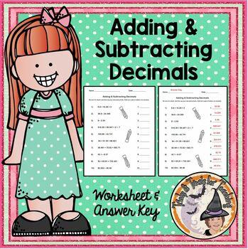 Adding & Subtracting Decimals Practice Homework with Answe
