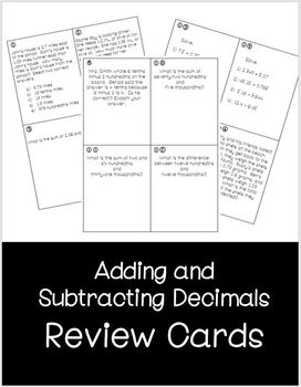 adding subtracting decimals review cards by kaylin fiorello tpt. Black Bedroom Furniture Sets. Home Design Ideas