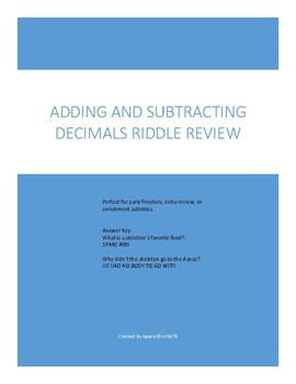 Adding Subtracting Decimals Riddle Review