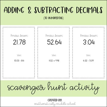 Adding & Subtracting Decimals Scavenger Hunt