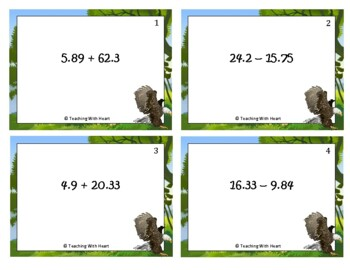 Adding and Subtracting Decimals Scoot Activity/Task Cards