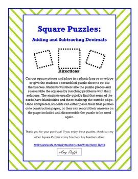 Adding & Subtracting Decimals Square Puzzles