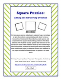 Adding & Subtracting Decimals Square Puzzles