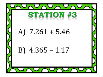 Adding & Subtracting Decimals Stations