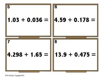 Adding & Subtracting Decimals Task Cards