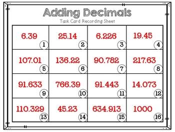 Adding & Subtracting Decimals - Task Cards & Recording Sheets - 5.NBT.7