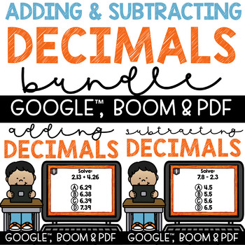 Adding and Subtracting Decimals Task Cards with Recording Sheet for 5th Grade