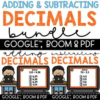 Adding & Subtracting Decimals - Task Cards & Recording She