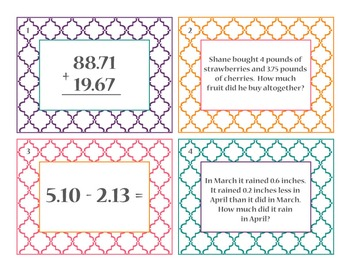 Adding & Subtracting Decimals Task/SCOOT Cards!