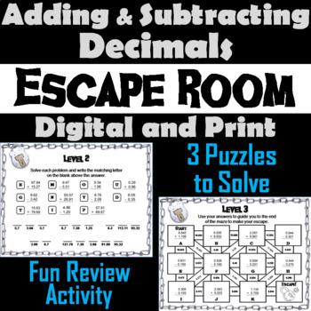 Adding/ Subtracting Decimals Tenths, Hundredths & Thousandths: Escape Room Math