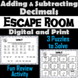 Adding and Subtracting Decimals Activity: Escape Room Math Breakout Game