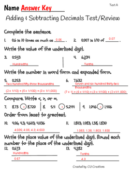 Adding & Subtracting Decimals Test/Review with Answer Key