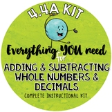 Adding & Subtracting Decimals & Whole Numbers- Interactive notebook  TEKS 4.4A
