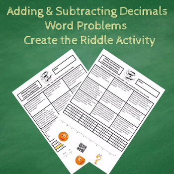 Adding & Subtracting Decimals Word Problem (With Negatives) Create the Riddle