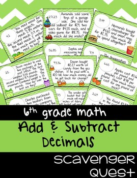 Adding & Subtracting Decimals Word Problems - Math Scavenger Quest
