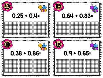 Adding and Subtracting Decimals using models Task Card BUNDLE