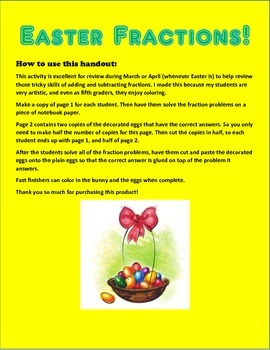 Adding & Subtracting Easter Fractions