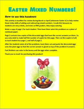 Adding & Subtracting Easter Mixed Numbers