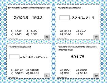Adding, Subtracting, Estimating, and Evaluating Decimals Task Card Set