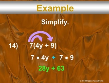 Adding & Subtracting Expressions & Properties in a PowerPoint Presentation