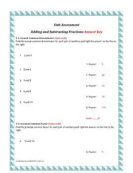 Adding & Subtracting Factions Assessment