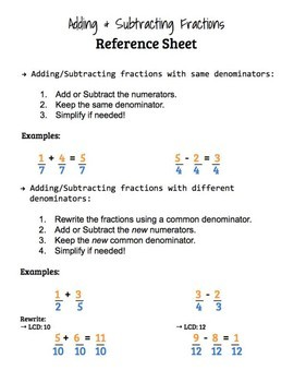 Adding/Subtracting Fractions Practice & Reference Sheet!