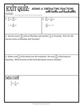 Adding & Subtracting Fraction with Tenths & Hundredths, 4th Grade Lesson Packet