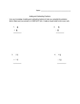 4.NF. 3 Adding & Subtracting Fractions Assessment