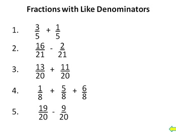 Adding Subtracting Fractions Bell Ringers Mixed Numbers Like Unlike Denominators