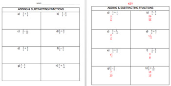 Adding & Subtracting Fractions: 2 Interactive Notebook Foldables, Game, Quiz