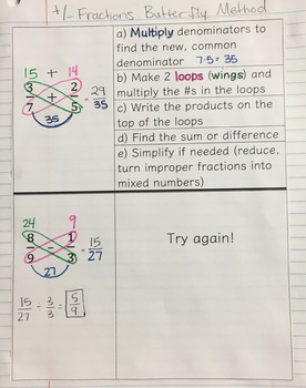 Adding & Subtracting Fractions (Butterfly Method) Interactive Notebook