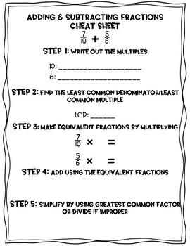 Adding & Subtracting Fractions Cheat Sheet