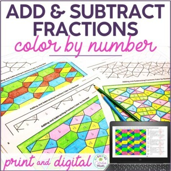 Adding & Subtracting Fractions Color by Number Activity