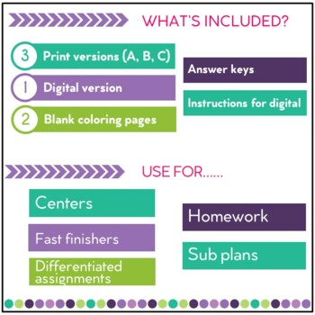 Adding and Subtracting Fractions Color by Number Activity