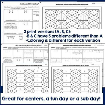 Adding Subtracting Fractions Unlike Denominators Color by Number Distance Learn