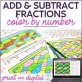 Adding Fractions & Subtracting Fractions Color by Number Activity