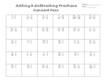 Adding & Subtracting Fractions Connect Four Partner (or Individual) Review Game