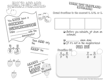 Adding & Subtracting Fractions - Doodle Notes Brochure for Interactive Notebooks