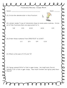 Adding & Subtracting Fractions Exit Ticket {FREEBIE}
