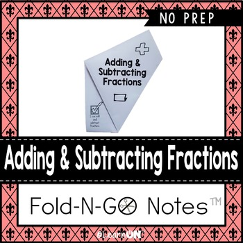 Adding & Subtracting Fractions Fold-N-Go Notes™