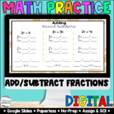 Adding & Subtracting Fractions [Google Classroom Compatible] | Math Centers
