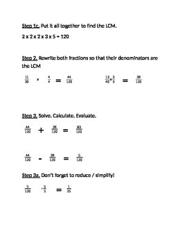 Adding / Subtracting Fractions Guide