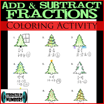 Adding Subtracting Fractions Holiday Christmas Tree Coloring Activity