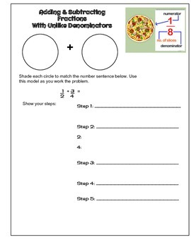 Adding & Subtracting Fractions Interactive Notebook Page