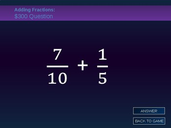 Adding & Subtracting Fractions Jeopardy Game