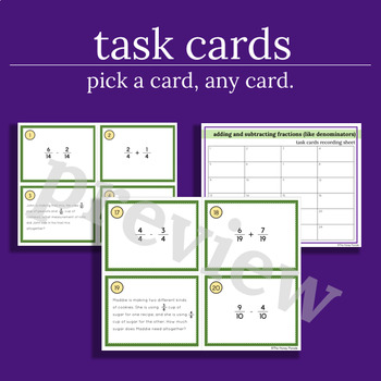 Adding/Subtracting Fractions - Like Denominators - 24 Task Cards