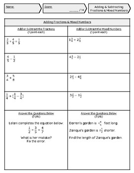 Adding & Subtracting Fractions/Mixed Numbers Assignment