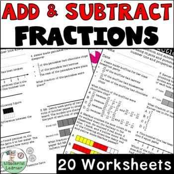 Adding & Subtracting Fractions No Prep 20 Worksheets TEKS 4.3E